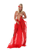 Miela Stylish in red istripper model